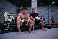 Jackson's/Winklejohn's: January 23, 2012 UFC fighter Diego Sanchez rests after coach Jackson's class at Jackson's/Winkeljohn's in Albuquerque, NM