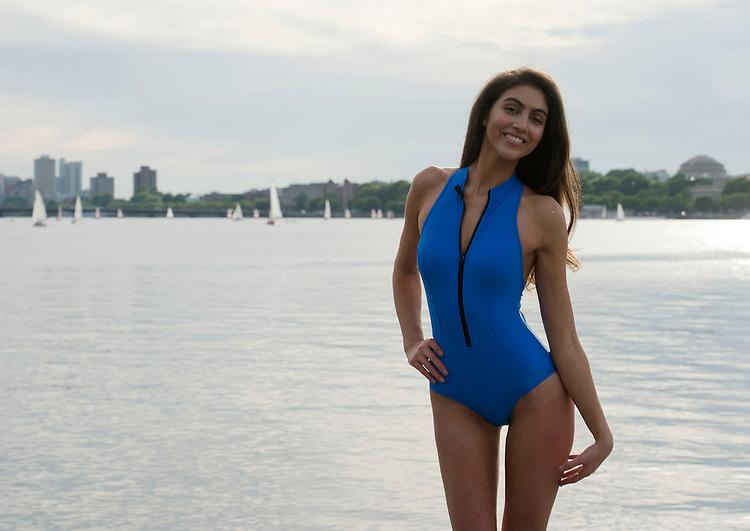 (Boston, MA, 06/17/15) Simone Aptekman, 21, models a Daniela Corte swimsuit in Boston  on Wednesday, June 17, 2015. Staff photo by Christopher Evans