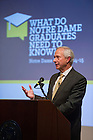 "Nov. 4, 2014; Richard Brodhead, president of Duke University delivers his speech ""The Once and Future Liberal Arts,"" as part of Notre Dame 2014-2015 Forum in the Hesburgh Center Auditorium.  (Photo by Barbara Johnston/University of Notre Dame)"