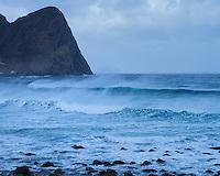 Offshore wind blows waves at Unstad beach, Vestvågøy, Lofoten Islands, Norway