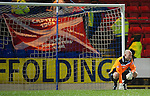 St Johnstone v Aberdeen...13.12.11   SPL . A gutted Peter Enckelman can't get back to stop Ryan Jacks goal after his mis-hit clearance.Picture by Graeme Hart..Copyright Perthshire Picture Agency.Tel: 01738 623350  Mobile: 07990 594431