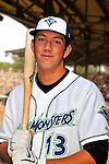 24 June 2008: Vermont Lake Monsters infielder Steve Souza. Baseball Card Image for 2008. For in-house use by the Vermont Lake Monsters Only. Editorial or other use of images by other publications or media outlets must secure licensing from the photographer Ed Wolfstein prior to publication, and is based on standards of circulation, and placement in a given publication...Mandatory Credit: Ed Wolfstein.