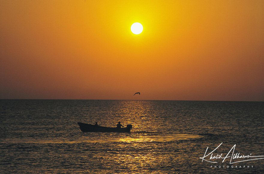 Fishermen form Quriyat at sunset time, Muscat