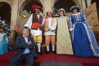 Castelfranco Emilia, Festa di San Nicola - Sagra del Tortellino (Tortellini Festival).<br /> From l.: Gianni Degli Angeli; Massimo Bottura, Oste (host) 2011; Giorgio Amadessi, Oste 2012; Giovanna Guidetti, Dama 2012; Monica Larner, Dama 2011.
