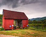 A picturesque old barn sits next to parking area and vineyard at Mountain Cove Vineyards.  (HDR image.)
