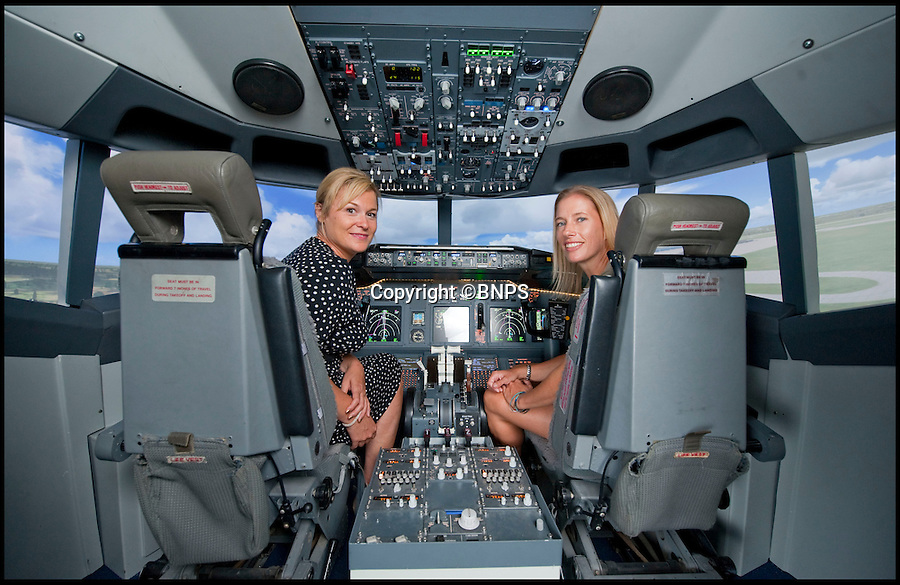 BNPS.co.uk (01202 558833)<br /> Pic: Collect/BNPS<br /> <br /> So succesful is the course that students finish off actually flying the simulator.<br /> <br /> l-r - Nicki Chalk(36) and Emily Kaye(38) piloting the 737-800 simulator on the life changing course.<br /> <br /> The sky's the limit...<br /> <br /> A pilot has launched a state-of-the-art virtual aeroplane to help people tackle their flying phobias head on.<br /> <br /> Captain Andy Wilkins, 56, has built a replica Boeing 737-800 complete with an aircraft cabin, cockpit, and flight simulator.<br /> <br /> It has been made to look exactly how a real aeroplane would with tiny windows, overhead lockers, seats with limited leg room and a narrow aisle.<br /> <br /> The model also features example messages and announcements from the crew and sounds that can often terrify people such as the hydraulic system.<br /> <br /> Andy shows members of the public who suffer with flying fears - otherwise known as Aviophobia - into the cabin and uses counselling techniques to calm their nerves.<br /> <br /> They then enter the cockpit of the aircraft where he shows them exactly how it works and discusses the process in detail from taking off to landing.<br /> <br /> At the end of the three-hour long course, the client will then have the opportunity to use the high-tech simulator to fly the plane themselves.<br /> <br /> Since launching the Virtual Jet Centre in Newton Abbot, Devon, four months ago, Andy has already helped eight people overcome their fears.