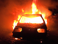 Stolen car on fire