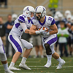 8 October 2016: Amherst College Purple & White Running Back Jack Hickey, a Sophomore from Melrose, MA, takes a handoff from Nick Morales during a game against the Middlebury College Panthers at Alumni Stadium in Middlebury, Vermont. The Panthers edged out the Purple & While 27-26. Mandatory Credit: Ed Wolfstein Photo *** RAW (NEF) Image File Available ***