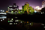 Photo shows the A-Bomb Dome in Hiroshima, Japan. The A-Bomb Dome is the skeletal ruins of what was, before the world's first nuclear attack on Aug. 6 1945,  the city's Industrial Promotion Hall. Although the building was the closest to the hypocenter of the nuclear bomb, its basic structure remained standing and has been preserved in the state it was found after the bombing.