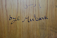 Message for president Hosni Mubarak in a toilet in the Cairo press club.