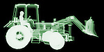X-ray image of a utility tractor (green on black) by Jim Wehtje, specialist in x-ray art and design images.