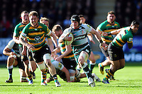 Harry Thacker of Leicester Tigers goes on the attack. Aviva Premiership match, between Northampton Saints and Leicester Tigers on April 16, 2016 at Franklin's Gardens in Northampton, England. Photo by: Patrick Khachfe / JMP