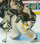 10/10/06  Mantitoba  goalie Krister Toews blocks a shot during an exhibition game..(Chris Machian/Prairie Pixel Group)..
