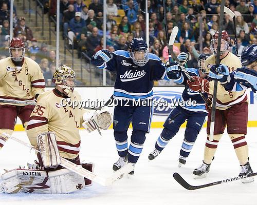 Matt Mangene (Maine - 57) celebrates Flynn's goal. - The Boston College Eagles defeated the University of Maine Black Bears 4-1 to win the 2012 Hockey East championship on Saturday, March 17, 2012, at TD Garden in Boston, Massachusetts.