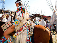 Confederated Tribes Princess, in regalia preparing for the afternoon Indian Show at the Pendleton Roundup. The Pendleton RoundUp is the largest outdoor rodeo in the world,