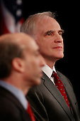 Chicago, IL - December 18, 2008 -- Daniel Tarullo listens as he is named to the Federal Reserve Board of Governors by United States President-elect Barack Obama during a press conference at the Drake Hotel December 18, 2008 in Chicago, Illinois. At the press conference, Obama also named Mary Schapiro, CEO of the Financial Industry Regulatory Authority (FINRA), as his choice to head the U.S. Securities and Exchange Commission (SEC) and Gary Gensler to head the Commodities Futures Trading Commission (CFTC)..Credit: Scott Olson - Pool via CNP