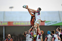 James King of the Ospreys competes with Don Armand of Exeter Chiefs for the ball at a lineout. European Rugby Champions Cup match, between Exeter Chiefs and the Ospreys on January 24, 2016 at Sandy Park in Exeter, England. Photo by: Patrick Khachfe / JMP