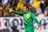 Brazil goalkeeper Diego Alves (1). Brazil (BRA) and Colombia (COL) played to a 1-1 tie during international friendly at MetLife Stadium in East Rutherford, NJ, on November 14, 2012.