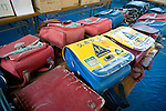 Satchels belonging to elementary school children from Okawa elementary school, are laid out for their owners to collect inside a school gym in Ishinomaki Prefecture, Japan on 08 Sept. 2011.  Photograph: Robert Gilhooly