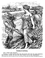 """Woman-Power. Ceres. """"Speed the plough!"""" Ploughman. """"I don't know who you are, ma'am, but it's no good speeding the plough unless we can get the women to do the harvesting."""" [Fifty thousand more women are wanted on the land to take the place of men called to the colours, if the harvest is to be got in.] (WW1 cartoon showing a shortage of men in farming and a call on women for help due to conscription during WW1)"""
