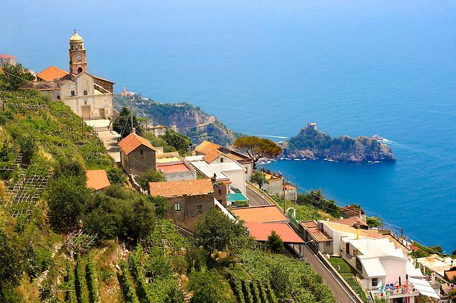 Chapels on the hill side of the Amalfi coast near Amalfi, Italy