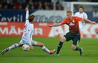 FUSSBALL   1. BUNDESLIGA  SAISON 2012/2013   7. Spieltag FC Augsburg - Werder Bremen          05.10.2012 Marcel de Jong (li, FC Augsburg) gegen Kevin De Bruyne (SV Werder Bremen)