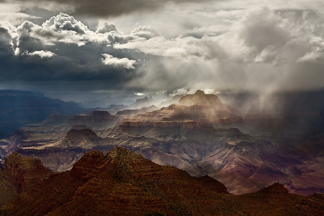 A rain shower sweeps across the Grand Canyon. Desert View, Grand Canyon National Park, Arizona.