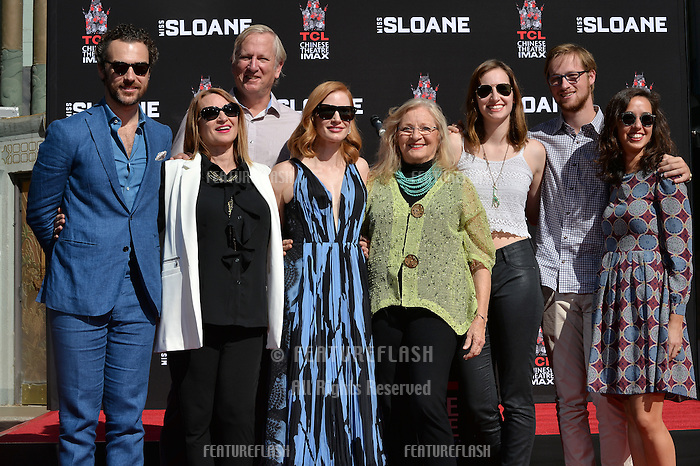 LOS ANGELES, CA. November 3, 2016: Jessica Chastain &amp; Family &amp; Gian Luca Passi de Preposulo at hand and footprint ceremony for actress Jessica Chastain at the TCL Chinese Theatre, Hollywood.<br /> Picture: Paul Smith/Featureflash/SilverHub 0208 004 5359/ 07711 972644 Editors@silverhubmedia.com