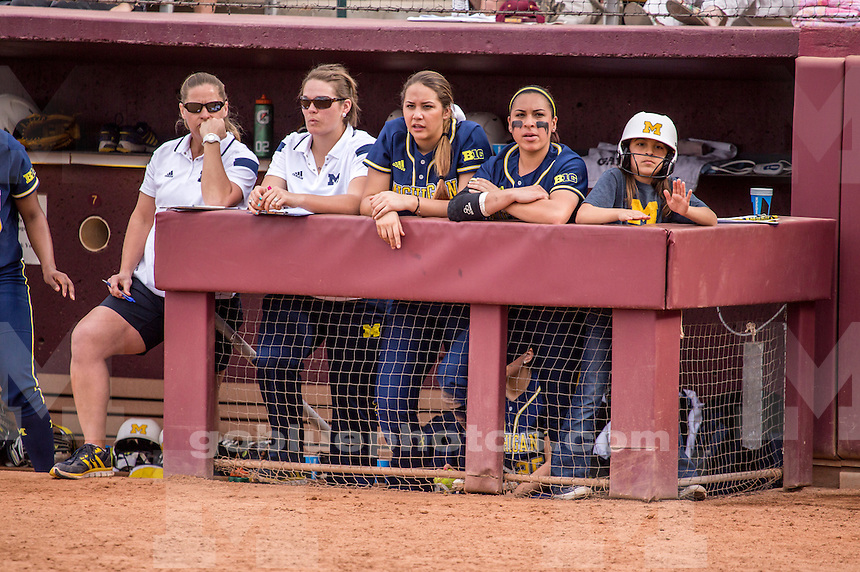 The University of Michigan softball team defeats Arizona State, 7-5, in the ASU Louisville Slugger Invitational in Tempe, Ariz., on Feb. 27, 2015.