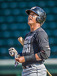 20 August 2015: Tri-City ValleyCats infielder Cesar Carrasco awaits his turn in the batting cage prior to a game against the Vermont Lake Monsters at Centennial Field in Burlington, Vermont. The Stedler Division-leading ValleyCats defeated the Lake Monsters 5-2 in NY Penn League action. Mandatory Credit: Ed Wolfstein Photo *** RAW Image File Available ****
