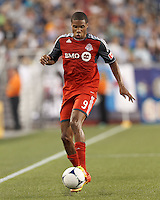 Toronto FC forward Ryan Johnson (9) controls the ball. In a Major League Soccer (MLS) match, Toronto FC defeated New England Revolution, 1-0, at Gillette Stadium on July 14, 2012.