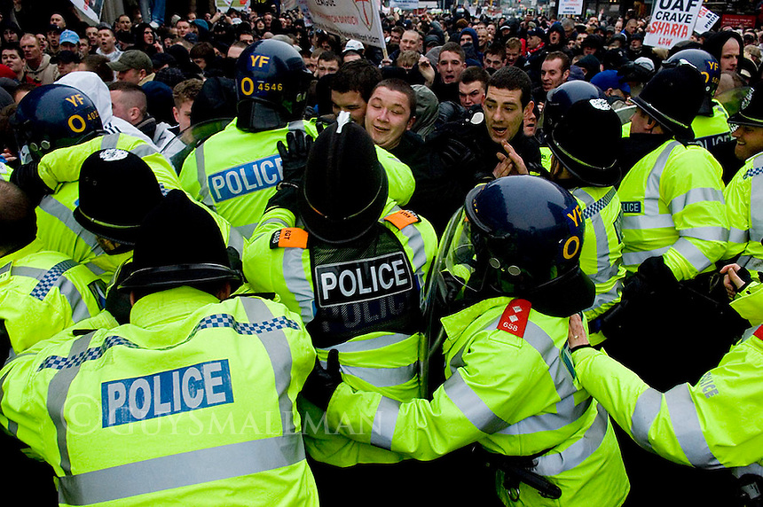 Hundreds of English Defence League supporters gather in Stoke. There were clashes with riot Police in the city centre.