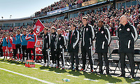 31 March 2011: The Toronto FC head coach Aron Winter and his training staff during the opening ceremonies in a game between the Columbus Crew and the Toronto FC at BMO Field in Toronto, Ontario Canada..The Columbus Crew won 1-0.