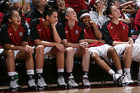 STANFORD, CA - FEBRUARY 1:  Grace Mashore, Ashley Cimino, Hannah Donaghe, Melanie Murphy and Michelle Harrison of the Stanford Cardinal during Stanford's 68-51 win over the UCLA Bruins on February 1, 2009 at Maples Pavilion in Stanford, California.