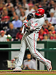 28 September 2010: Philadelphia Phillies' first baseman Ryan Howard hits a single in the 4th inning against the Washington Nationals at Nationals Park in Washington, DC. The Nationals defeated the Phillies 2-1 on an Adam Dunn walk-off solo homer in the 9th inning to even up their 3-game series one game apiece. Mandatory Credit: Ed Wolfstein Photo
