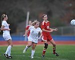 Oxford High's Ali McGee vs. Lafayette High's Kylie Glass (10) in girls high school soccer in Oxford, Miss. on Saturday, December 8, 2012. Oxford won 1-0.
