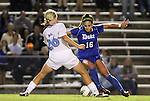 13 October 2011: Duke's Laura Weinberg (16) and North Carolina's Caitlin Ball (26). The University of North Carolina Tar Heels defeated the Duke University Blue Devils 1-0 at Fetzer Field in Chapel Hill, North Carolina in an NCAA Division I Women's Soccer game.