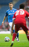 St Johnstone v Aberdeen...13.04.14    William Hill Scottish Cup Semi-Final, Ibrox<br /> Chris Millar is closed by Shaleum Logan<br /> Picture by Graeme Hart.<br /> Copyright Perthshire Picture Agency<br /> Tel: 01738 623350  Mobile: 07990 594431