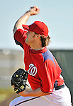 19 February 2011: Washington Nationals' pitcher Adam Carr tosses on the mound during Spring Training at the Carl Barger Baseball Complex in Viera, Florida. Mandatory Credit: Ed Wolfstein Photo
