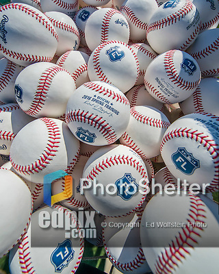 6 March 2016: A basket of brand-new Spring Training baseballs are ready for batting practice prior to a pre-season game between the Washington Nationals and the St. Louis Cardinals at Roger Dean Stadium in Jupiter, Florida. The Nationals defeated the Cardinals 5-2 in Grapefruit League play. Mandatory Credit: Ed Wolfstein Photo *** RAW (NEF) Image File Available ***