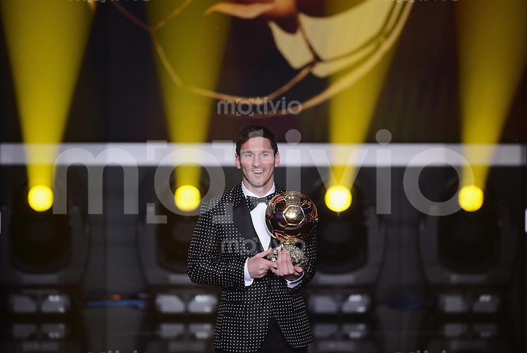 Fussball International  FIFA Ballon d Or   07.01.2013 Weltfussballer 2012  Lionel Messi (Argentinien) das vierte mal in Folge