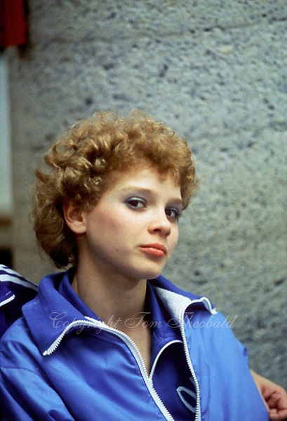 Dagmar Kersten of East Germany is shown in portrait  during press interview at 1985 World Championships in women's artistic gymnastics at Montreal, Canada in mid November, 1985.  Photo by Tom Theobald.