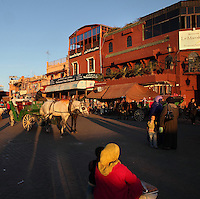 Shoppers, shops and horse and cart in Djemma el Fna square and marketplace, Medina, Marrakech, Morocco. Picture by Manuel Cohen