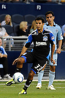 Steven Beltashour (33) defender San Jose Earthquakes in action...Sporting KC defeated San Jose Earthquakes 1-0 at LIVESTRONG Sporting Park, Kansas City ,Kansas,..