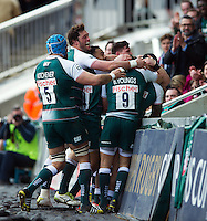 Leicester Tigers players celebrate Manu Tuilagi's try in the first half. European Rugby Champions Cup quarter final, between Leicester Tigers and Stade Francais on April 10, 2016 at Welford Road in Leicester, England. Photo by: Patrick Khachfe / JMP