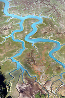 Aerial view of a meandering river system, Alaska, USA