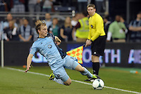 Seth Sinovic (16) defender Sporting KC keeps the ball in play..Sporting Kansas City defeated Montreal Impact 2-0 at Sporting Park, Kansas City, Kansas.