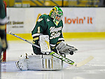 8 November 2008: Wayne State University Warriors' goaltender Delayne Brian, a Freshman from Winnipeg Manitoba, warms up prior to a game against the University of Vermont Catamounts at Gutterson Fieldhouse, in Burlington, Vermont. The Warriors shut out the Catamounts 7-0...Mandatory Photo Credit: Ed Wolfstein Photo