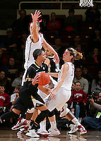 STANFORD, CA - January 27, 2013: Stanford Cardinal's Joslyn Tinkle AND Toni Kokenis during Stanford's 69-56 victory over the Colorado Buffaloes at Maples Pavilion in Stanford, California.