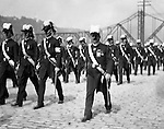 Pittsburgh PA:  Pittsburgh-area Manson marching in the annual St Patrick's Day Parade - 1903.  View of Homer Stewart and fellow Masons marching down Water Street with the new Wabash Bridge in the background.